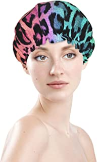 Colorful Leopard Print Waterproof Shower Cap Luxury Large Long Curly Hair Bonnet Adjustable Washable Reusable Caps Cute Ki...