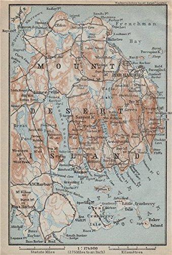 MOUNT DESERT ISLAND. Maine. Bar Harbor. BAEDEKER, 1909 antique map