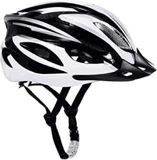 Shopizone® Lightweight Bicycle Helmet with Detachable Visor Adjustable Size Cycling Helmet for Men and Women White & Black