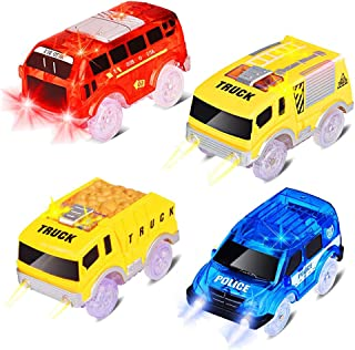Tracks Cars Replacement Light Up Toy Car Track Accessories Toys Racing Car with 5 Flashing LED Lights Compatible with Most Tracks for Boys and Girls Best Gifts (4 Pack)