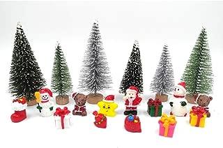 EMiEN 19 Pieces Christmas Miniature Ornament Kits Set for DIY Fairy Garden Dollhouse Decoration,Santa,Christmas Trees,Small Bear,Snowman, Red Socks,Gift Bags,Star for Children