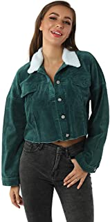 Women's Corduroy Coat Casual Hole Pocket Long Sleeve Button Short Jacket Outcoat E-Scenery