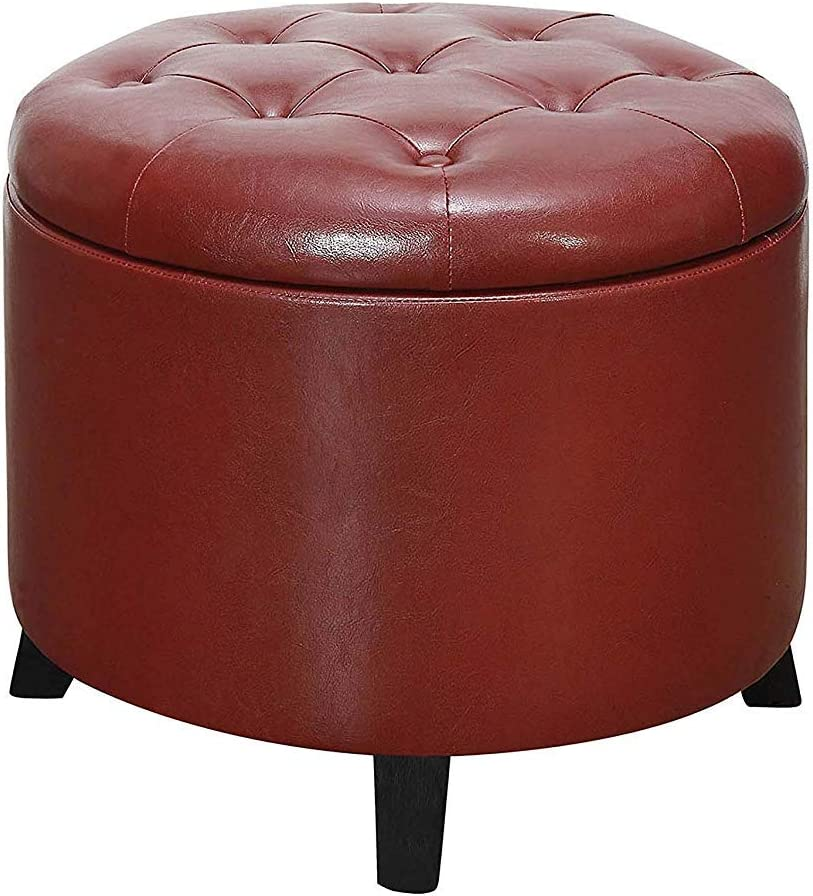Convenience Concepts Designs4Comfort Outstanding Round Burgundy Ottoman Attention brand Fau