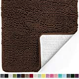 Gorilla Grip Original Luxury Chenille Bathroom Rug Mat, 30x20, Extra Soft and Absorbent Shaggy Rugs, Machine Wash Dry, Perfect Plush Carpet Mats for Tub, Shower, and Bath Room, Brown