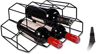 Leaflai Wine Racks Countertop Wine Storage Black, Wine Bottle Holder Table Top Small, Metal Wine Rack Freestanding Floor S...
