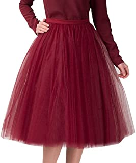 Litetao Women Short Tea Length Tutu Tulle Party Skirt Solid Color Pleated Fluffy Puffy Homecoming Skirt