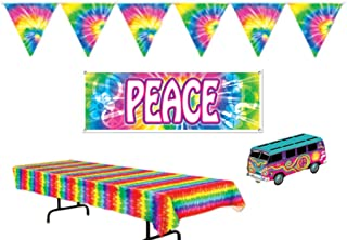 Retro 60`s Peace Tie Dye Party Decorations: Bundle Includes Centerpiece, Tablecover, Peace Banner, and Flag Pennant Banner