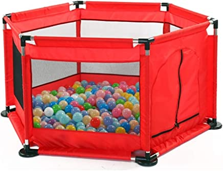 LOVE BABY Lovebaby Playpen Portable Playard Play Pen for Infants and Babies  Lightweight Mesh 6-Panel Baby Kid s Safety Activity Center- Red