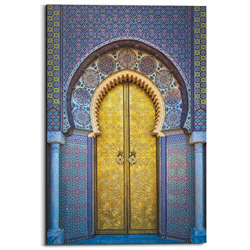 Schilderij Deco Panel Gouden deur Kleurrijk - Oosters - Poort - 60 x 90 cm