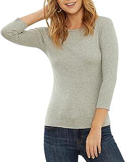 Three Dots Women's British Boat-Neck T-Shirt