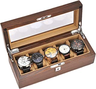 Watch Case Watch Box Watch Display Case Watch Cases For Men 5 Slot Watch Organizer Watch Case Wood Jewelry box (Color : Br...