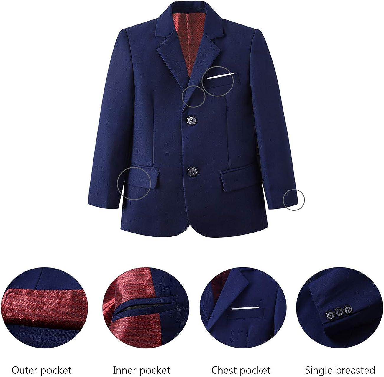 Yuanlu Boys Formal Suit Set 5 Piece Notched Lapel Suit Set with Tie and Vest