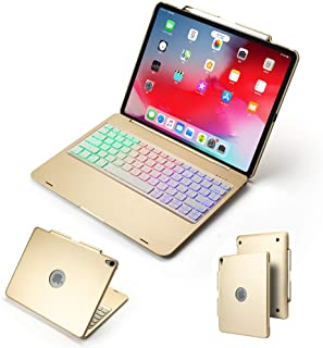 "for iPad pro 12.9"" 2018 Bluetooth Keyboard Case, 7 Colors Backlit with Built-in Pencil Holder Smart Folio Stylish Hard Shell Cover Keyboard Case for ipad pro 12.9 inch 3rd Generation (Gold)"
