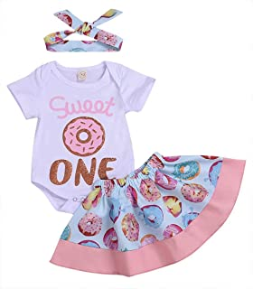 Baby Girl Sweet One Romper + Donut Tutu Skirt + Headband 1st Birthday Outfits Set