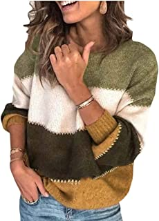 Macondoo Women's Crew Neck Knitted Thicken Color Block Pullover Jumper Sweaters