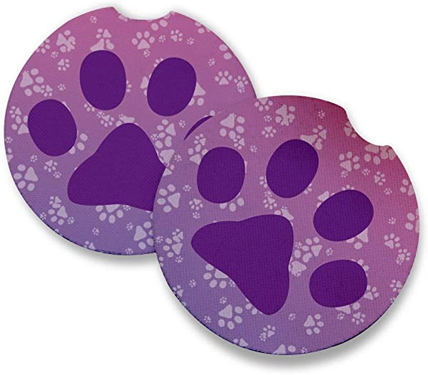 Purple Paws Car Coasters For Drinks Set Of 2 Perfect Car Accessories With Absorbent Coasters Car Coaster Measures 2 56 Inches With Rubber Backing