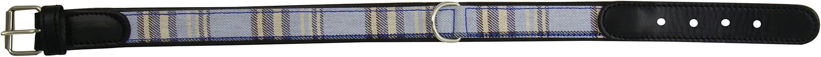 Petego La Cinopelca Cheri' Italian Leather Harness in Blue and Tartan Fabric, Large