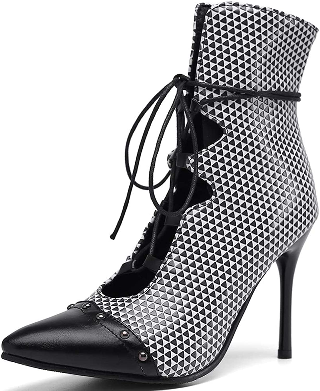 Vimisaoi Women's Elegant Strappy Ankle High Gladiator Sandals, Roman Stilettos High Heel Crisscross Pointed Toe Dress Pumps Boots