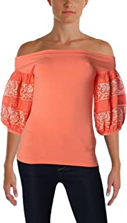 Free People Womens Mesh Inset Embroidered Blouse
