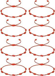 CASSIECA 8 Pcs Pulsera Roja 7 Nudos Amuleto Kabbalah Pulsera Ojo Turco con Mano de Fatima Hamsa Pulsera Hilo Rojo de la Su...
