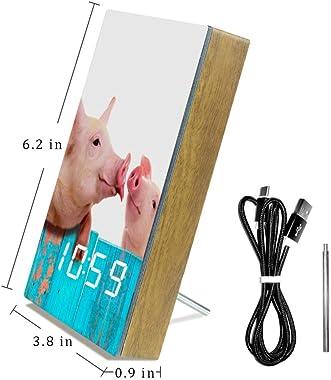 Yoliveya Réveil numérique LED Horloge de bureau Silencieuse Horloge de table en bois avec calendrier Température Alimentation