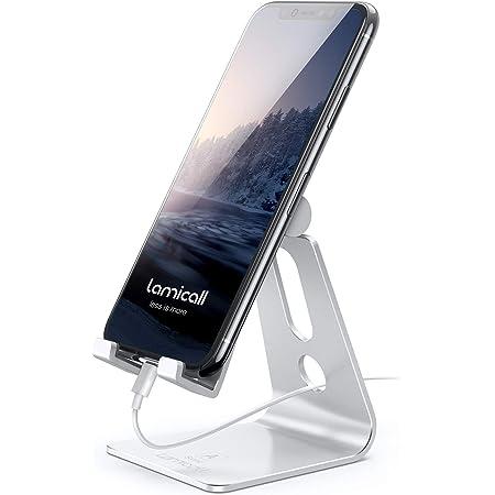 Lamicall Supporto Telefono Regolabile, Dock Telefono - Universale Supporto Dock per iPhone 12 Mini, 12 PRO Max, 11 PRO, XS Max, X, XR, 8, 7, 6 Plus SE, Samsung S10 S9 S8, Huawei, Smartphone - Argento