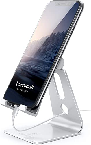 Adjustable Cell Phone Stand, Lamicall Desk Phone Holder, Cradle, Dock, Compatible with iPhone 12 Mini 11 Pro Xs Max X...