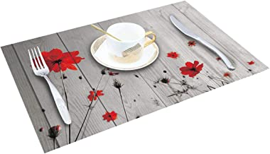 SUN-Shine Placemats Set of 6, Red Poppy Flower Placemat for Dining Table Decorations, Heat-Resistant Washable Table Mats for