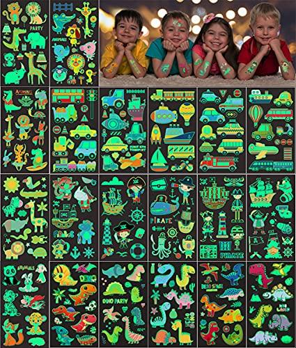 20 hojas Tatuajes Temporales para niños, 200 patrón luminoso Tatuajes temporales Falso Pegatinas, Dinosaurio Animal Pirata Transporte Tatuaje regalo de decor fiesta para niños y niñas