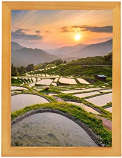 AUNMAS A3 Wooden Photo Frame with High Definition Glass Cover Picture Frame Desktop Decor Poster Frame Home Table Decoration(2#)