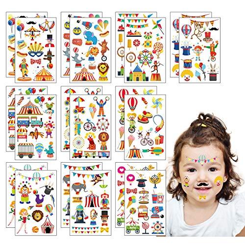 ZoomSky Circo Tatuajes Pegatinas 20pcs Etiqueta engomada del Payaso Dibujos Animados para niños Infantiles Fiesta de cumpleaños Regalo Carnaval Baby Shower favores Regalos Colorido