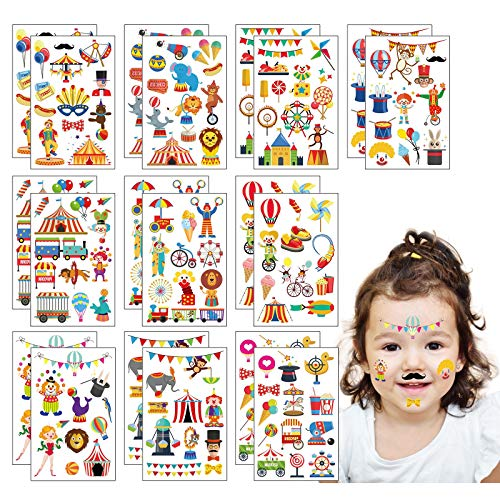 ZoomSky 200Pcs Clown Temporäre Kindertattoos Zirkus Kinder Tattoos Mädchen Tier Sticker Löwe Aufkleber Mitgebsel Gastgeschenke für Karneval Parade Rosenmontag Geburtstag Party