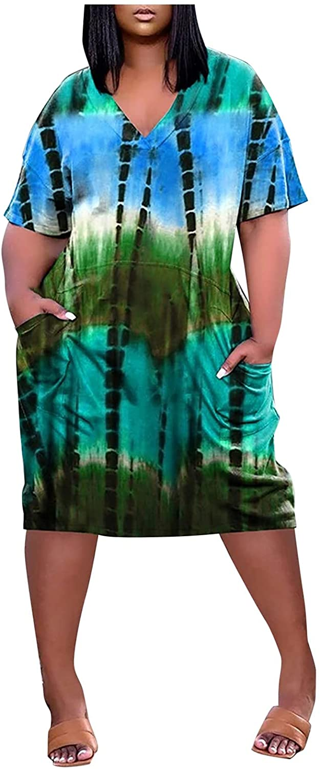 ORT Dress for Women Tie Dye Printed V Neck Summer Dresses Short Sleeve Casual Plus Size Dress Shirt Dress with Pockets