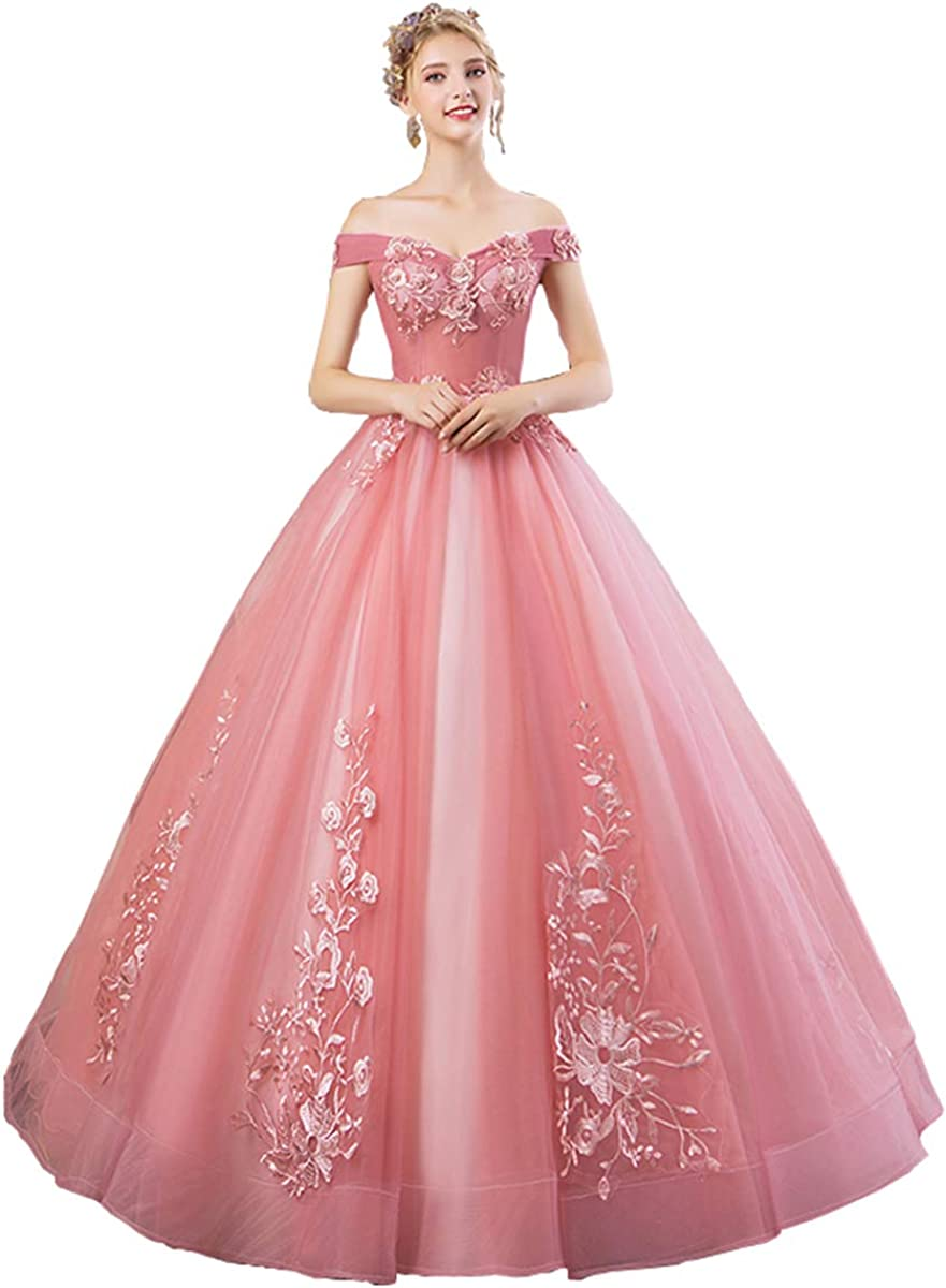 Aries Tuttle Coral Lace-up Princess Quinceanera Dress Girls' Birthday Party Sweet 16 Pageant 3D Floral Prom Gown