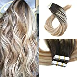 Moresoo 18 Inch Tape in Hair Extensions Human Hair Remy Hair Extensions Balayage Color 40PCS 100G Hair Extensions Color Dark Brown #2 Fading to Blonde #27 Mixed #613 Real Human Hair Extensions