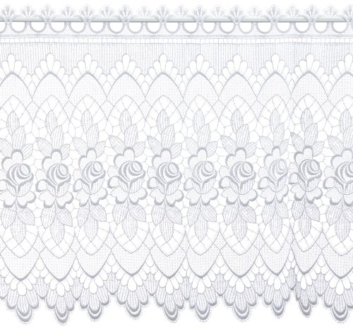 Plauener Spitze by Modespitze, Store Bistro Gardine Scheibengardine mit Stangendurchzug, hochwertige Stickerei, Höhe 60 cm, Breite 144 cm, Weiß