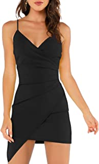 Women's Sexy Ruched Side Asymmetrical V Neck Bodycon Cami...