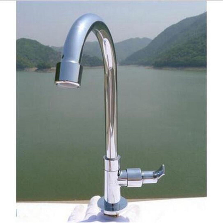 YFF@ILU Messing Chrom Waschbecken Wasserhahn mit kaltem Leitungswasser schwenkbarer Auslauf ein Griff Loch