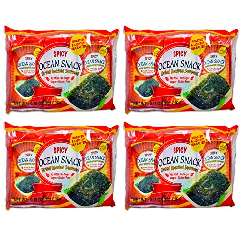 Spicy Roasted Seaweed Snacks - 12 Pack, Individually Wrapped Dried Seaweed Snack Roasted Seaweed Sheets