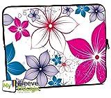 MySleeveDesign Laptoptasche Notebooktasche Sleeve für 10,2 Zoll / 11,6-12,1 Zoll / 13,3 Zoll / 14 Zoll / 15,6 Zoll / 17,3 Zoll - Neopren Schutzhülle mit VERSCH. Designs - Pink Flowers [10]