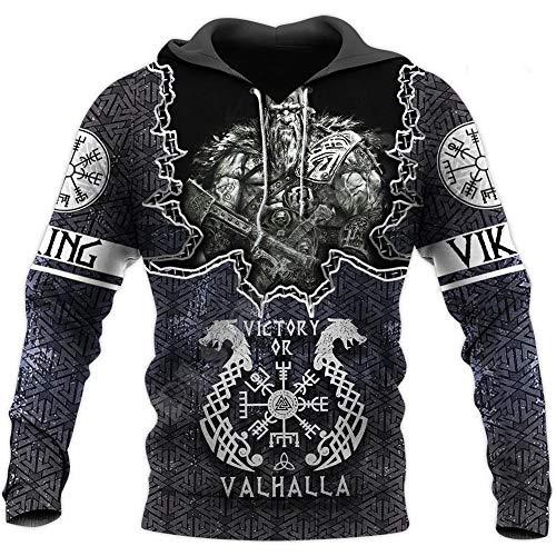 WDBAYXH Sudadera con Capucha de Mitología Nórdica para Hombre Odin Fenrir Wolf Tattoo 3D Print Full Zip Pullover, Viking Pagan Vintage Chaqueta Informal de Manga Larga Novedad Streetwear,Pullover,5XL