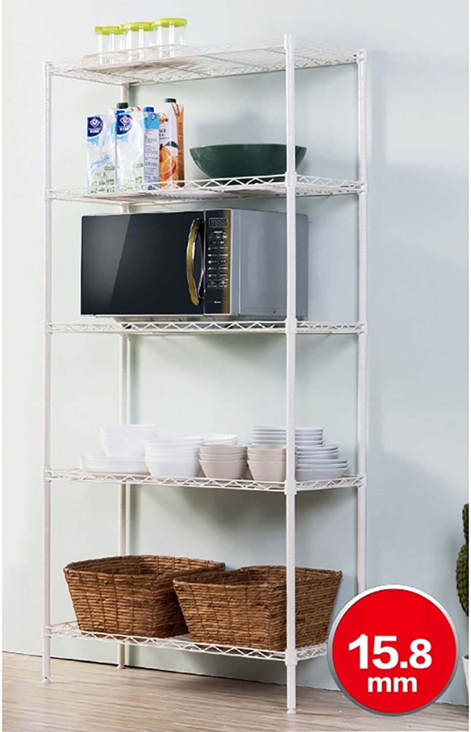 Kitchen Shelf Kitchen Shelf Shelf Steel Rack Finishing Frame Storage Shelves Layers Shelf Waterproof and Durable Kitchen Storage Racks (color   Ivory)