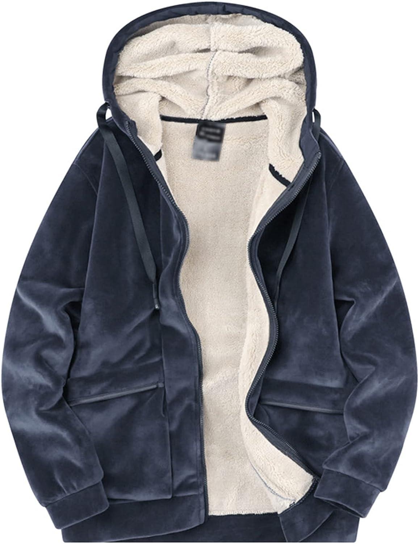 Kissonic Men's Warm Fleece Sherpa Lined Hoodie Full Zip Sweatshirt Jacket with Pockets