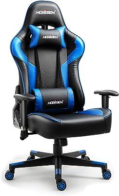 Moregem ゲーミングチェア オフィスチェア パソコンチェア ゲーム用チェア 165度リクライニング ハイバック ヘッドレスト ランバーサポート 可動ひじ掛け付き 高さ調整機能 マッサージ機能腰痛対策「ブルー」