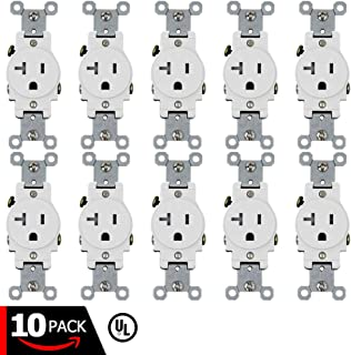 ESD Tech 20A Single Receptacle – 10 Pack of Tamper Resistant Electrical Wall Outlets, White, UL Listed, Residential & Commercial Grade, Straight Blade, 2-Pole