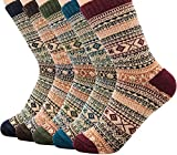 Women Winter Socks 5 Pairs, Vintage Chunky Knit Wool Cashmere, Thick Warm Soft