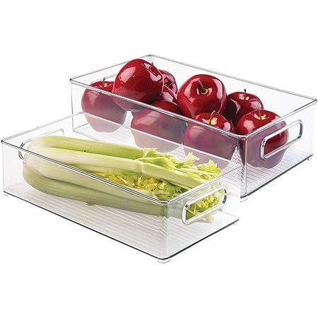 mDesign bac de rangement (lot de 2) – organiseur frigo en plastique transparent et résistant – bac à légumes sans BPA – transparent