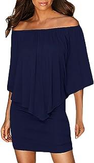 40f077140 Sidefeel Women Off Shoulder Ruffles Bodycon Mini Dress