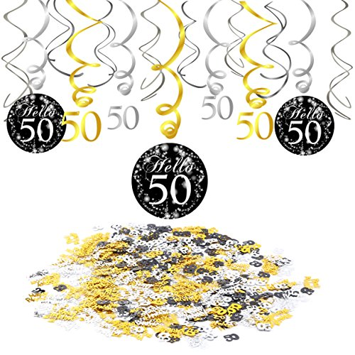 Konsait 50th Birthday Decoration, 50th Birthday Hanging Swirl (15 Counts), Happy Birthday & 50 Table Confetti (1.05oz) Black Hanging Swirl Ceiling Decor Table Decor for Birthday Party Decorations
