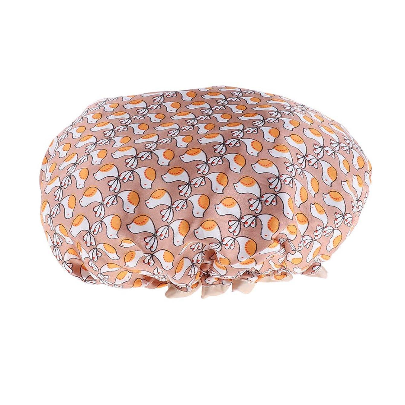 受粉者週間スティーブンソンD DOLITY シャワーキャップ ヘアキャップ 帽子 女性用 入浴 バス用品 二重層 防水 全3色 - ゴールド